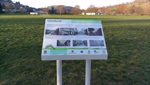 history board and view of park
