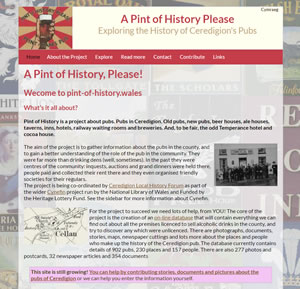 Screenshot from the website A Pint of History Please!
